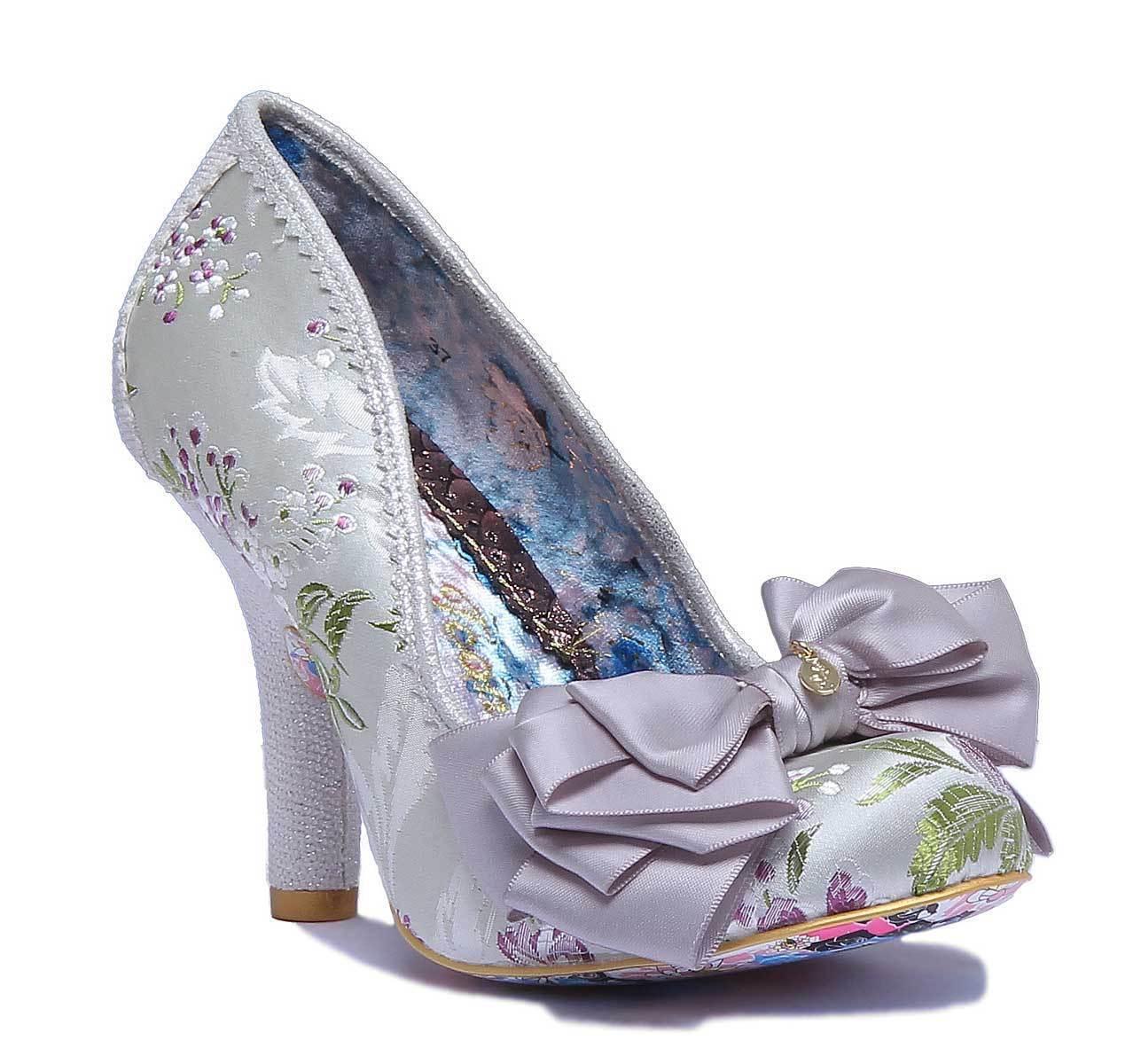 Irregular Choice Ascot Damens Other Fabric Silver Closed Toe Pumps Größe UK 3 - 8
