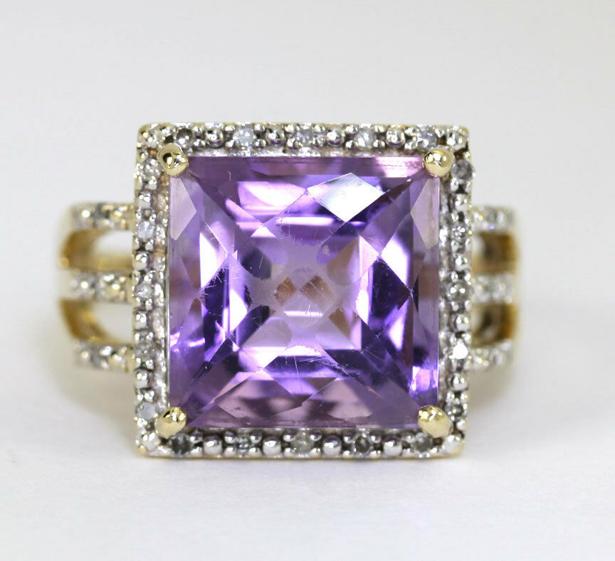 Diamond amethyst ring 14K yellow gold .15CT rounds 6.90CT fancy square 7.05CTW