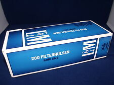 1000 LM Azul Tamaño King hacer su propio tubos de vacíos filtro de cigarrillo