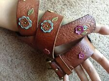 Women's Leather Flower Studded Fossil Belt With Brass Busckle Size Small