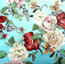 4 Lunch Paper Napkins for Decoupage Party Table Vintage Meghan Floral