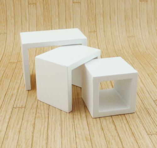 Dolls House Modern White Nest of Tables Contemporary Living Room Furniture
