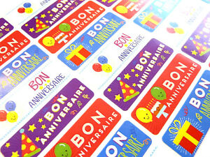 Bon Anniversaire Francais Joyeux Etiquettes Autocollants Pour Cartes