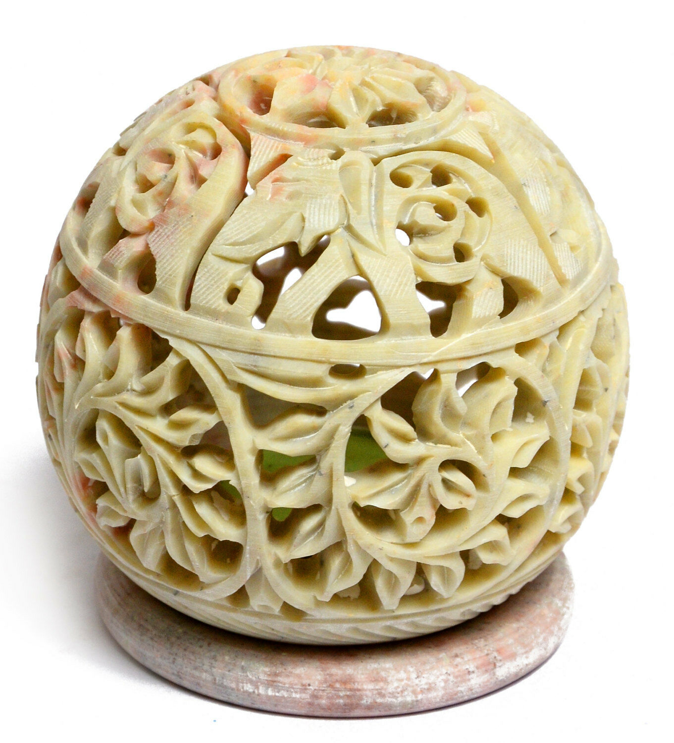 3.5 x 4  Marble Soapstone Candle Holder Hand Carved Design Round Handmade H656