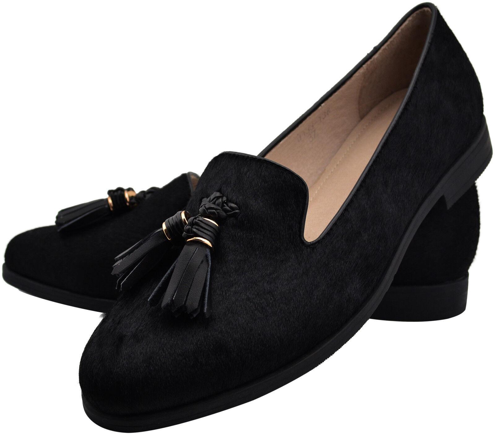 Loafer cuero cuero cuero tasselloafer negro fell borlas tassels par individuales tamaño 36  para mayoristas