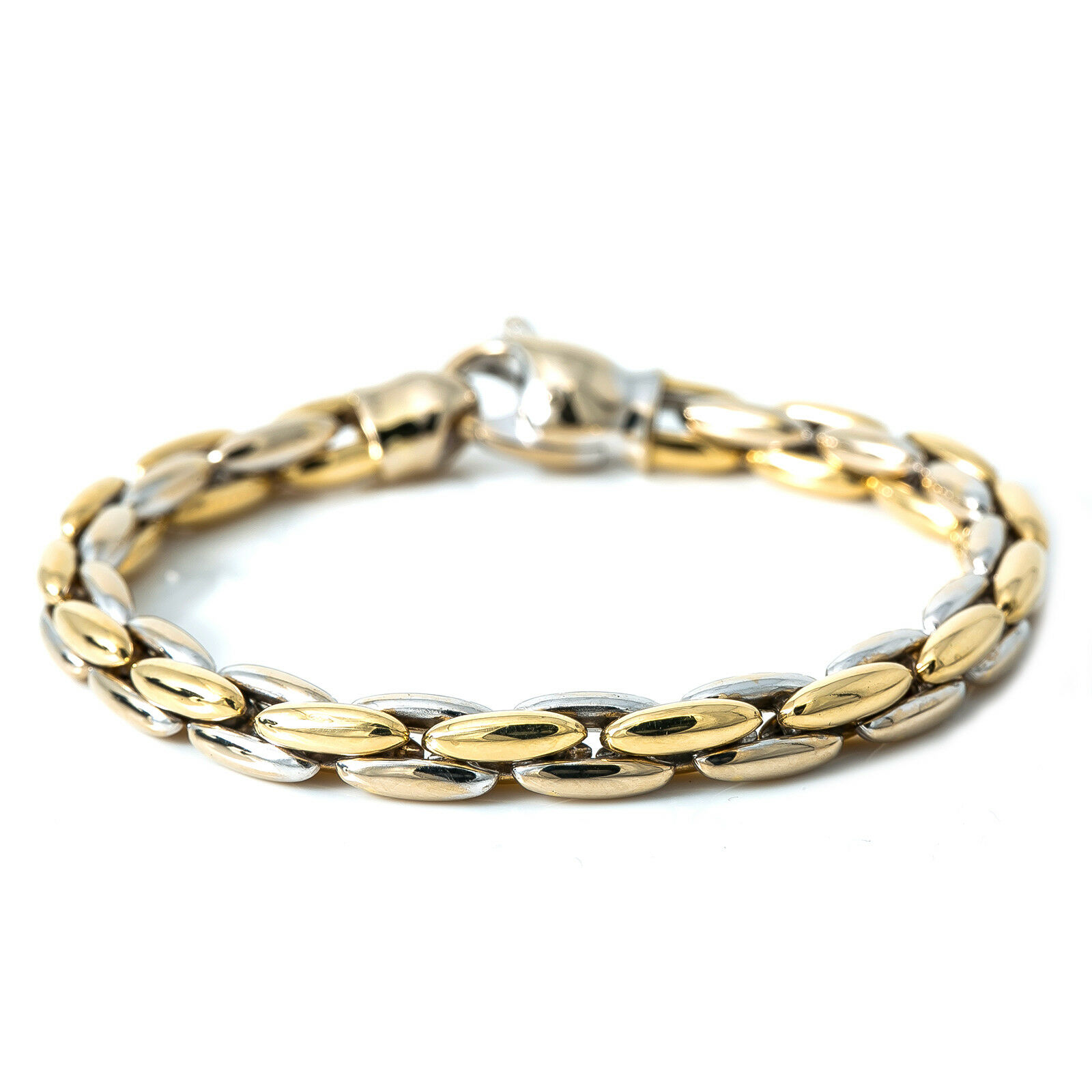 14K Two Tone gold Anchor Link Bracelet Lobster Claw 17.6 Grams 7