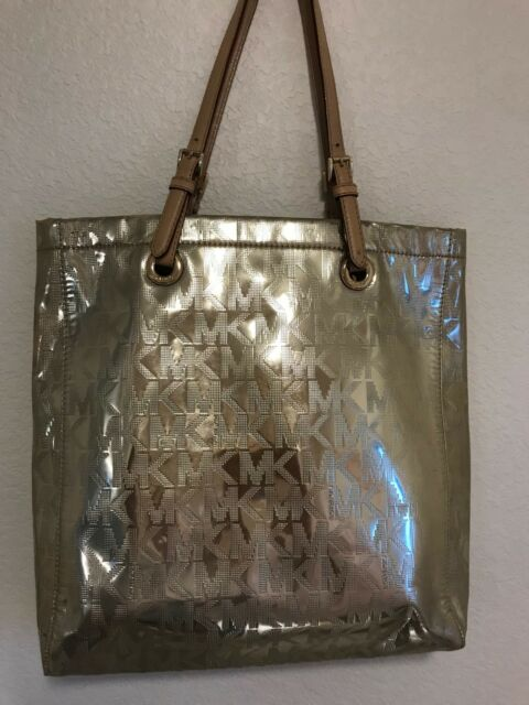 6bc2cb34a61b Michael Kors Grab Bag Convertible Signature North South GOLD Tote Handbag MK
