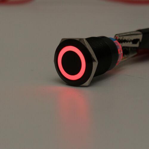 Black 5 Pin 19mm Led Metal Push Button Latching Switch Waterproof 1NO1NC 12V