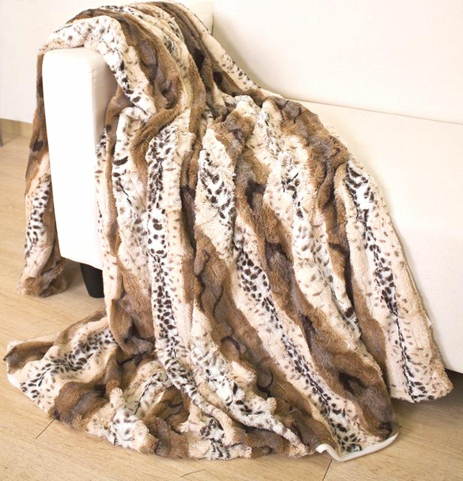 Schöne Doubelface Fellimitat Kuscheldecke Decke Tierfellmuster Leopard 150x200cm