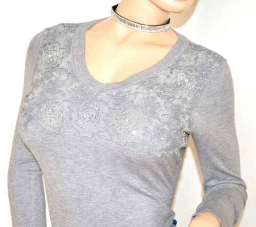 Tricots à gris shirt vêtements femmes strass longues Pull T manches F90 Sous pour BfUWqWc