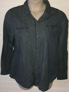 NWT-Jones-New-York-Jeans-Womens-Denim-Long-Sleeve-Cotton-Snaps-Shirt-Size-L