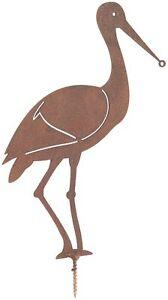 20 Cm H X 15 Cm L X 3 Cm D-métal Rusty Cigogne Art Jardin Ornement-afficher Le Titre D'origine Soyez Amical Lors De L'Utilisation