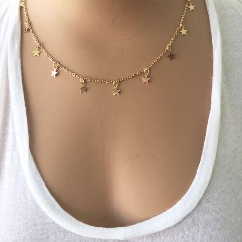 Gypsy Boho Hippie Jewelry Gold Tone Star Choker Necklace Chain