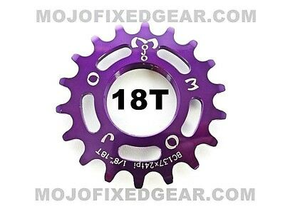 BLUE ANODIZED Cro-Mo TRACK 19 TOOTH 1//8 INCH CNC MOJO 19T FIXED GEAR COG