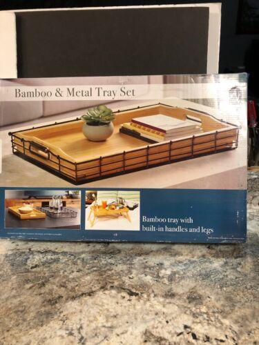 """Mesa Wood Bamboo /&  Metal Tray Set 20.5"""" X 12.6"""" X 2.5"""" Serving Food Tray"""