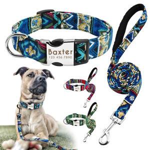 Printed-Custom-Dog-Collar-Lead-Set-Personalised-Nylon-Collar-ID-Tag-Small-Medium