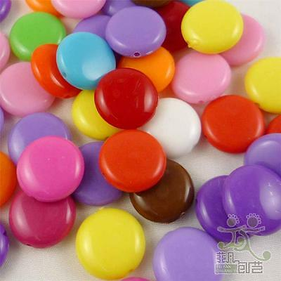 20/100pcs Mixed Colors Plastic Round Beads 15MM DIY Jewelry Making Craft Girl