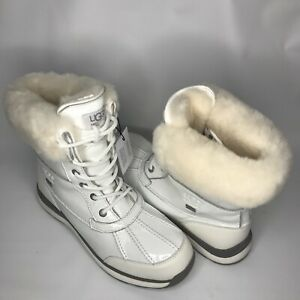04b08d3df37 Details about UGG Adirondack III Patent White Waterproof Leather Short Snow  Boot Size 9.5Women