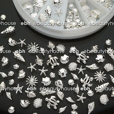 120 Pcs 3D Metal Nail Art Decoration Ocean Accessories Silver Shell Conch EB-142