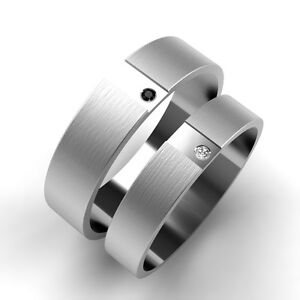 White-Gold-Wedding-rings-His-and-Hers-Black-and-White-Diamond-Set-Bands-New