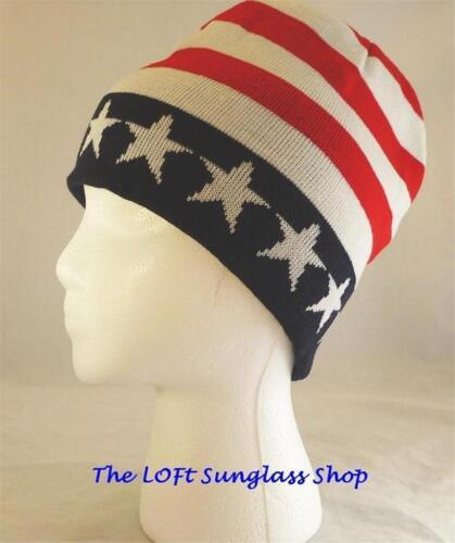 Cuffless Patriotic American Flag Ski Snowboard Warm Winter Hat Beanie USA Cap