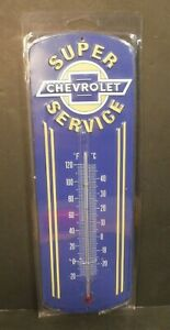New Chevrolet Super Service Embossed Metal Thermometer Open Road Brands #150334