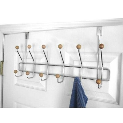 Home Basics NEW Chrome 6 Towel Hook Over the Door Hanger with Wood Knobs OH10107