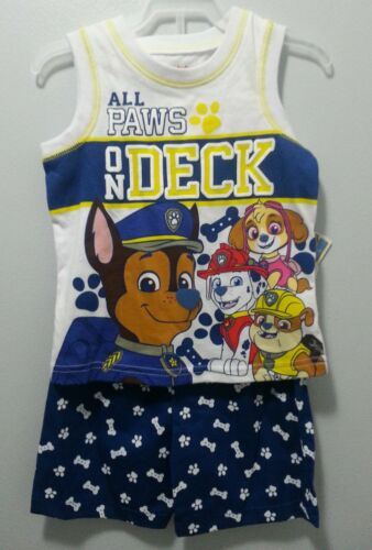 NEW BOYS PAW PATROL ALL PAWS ON DECK 2 PIECE SHORTS OUTFIT SIZES 3T 4T #1