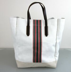 f72c951cc New Authentic GUCCI Canvas Mens Large Tall Tote Top Handle Bag w/Web ...