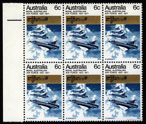 1971-RAAF-2x-Plate-Flaws-MUH-Block-of-6-SG489-Mint-ANZAC-Australia-Stamps