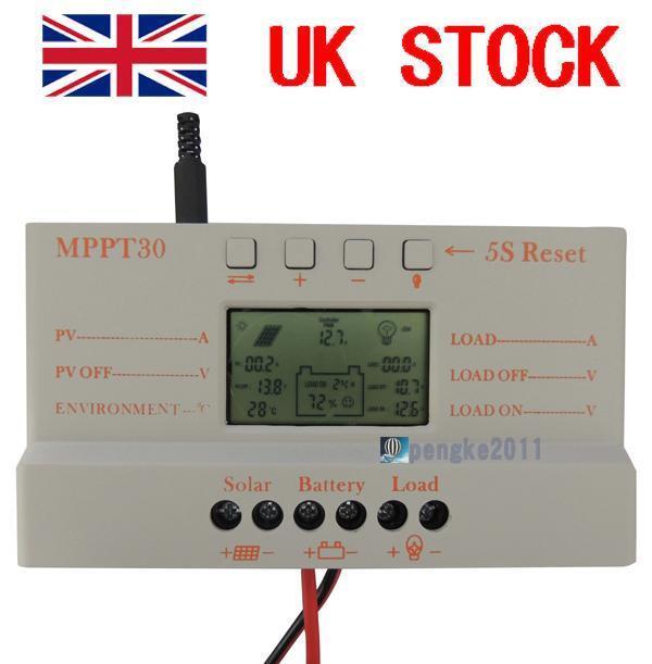 30A MPPT Solar Panel Regulator Battery Charge Controller 12V/24V With LCD USB PK