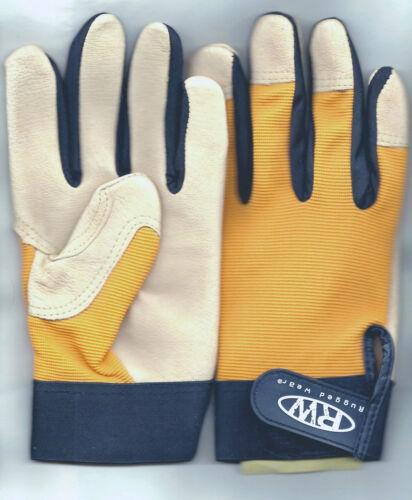 RuggedWear Men/'s Dexterity Yellow Spandex-Pigskin Leather Work//Drive Wrist Glove