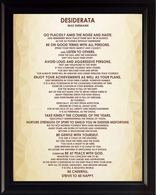 Desiderata Mandala Ehrmann Typography 12X16 Inch Framed Art Print
