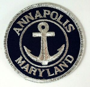 ANNAPOLIS-MARYLAND-Embroidered-Iron-Sew-On-Cloth-Blue-and-Silver-Patch-Souvenir