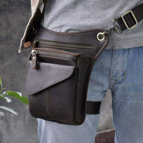 Men Genuine Leather Hip Bum Waist Pack Drop Leg Bag Cycling Motorcycle Messenger
