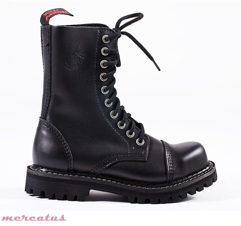 ANGRY ITCH - 10-Loch Gothic Punk Army Ranger Armee Leder Stiefel mit Stahlkappe
