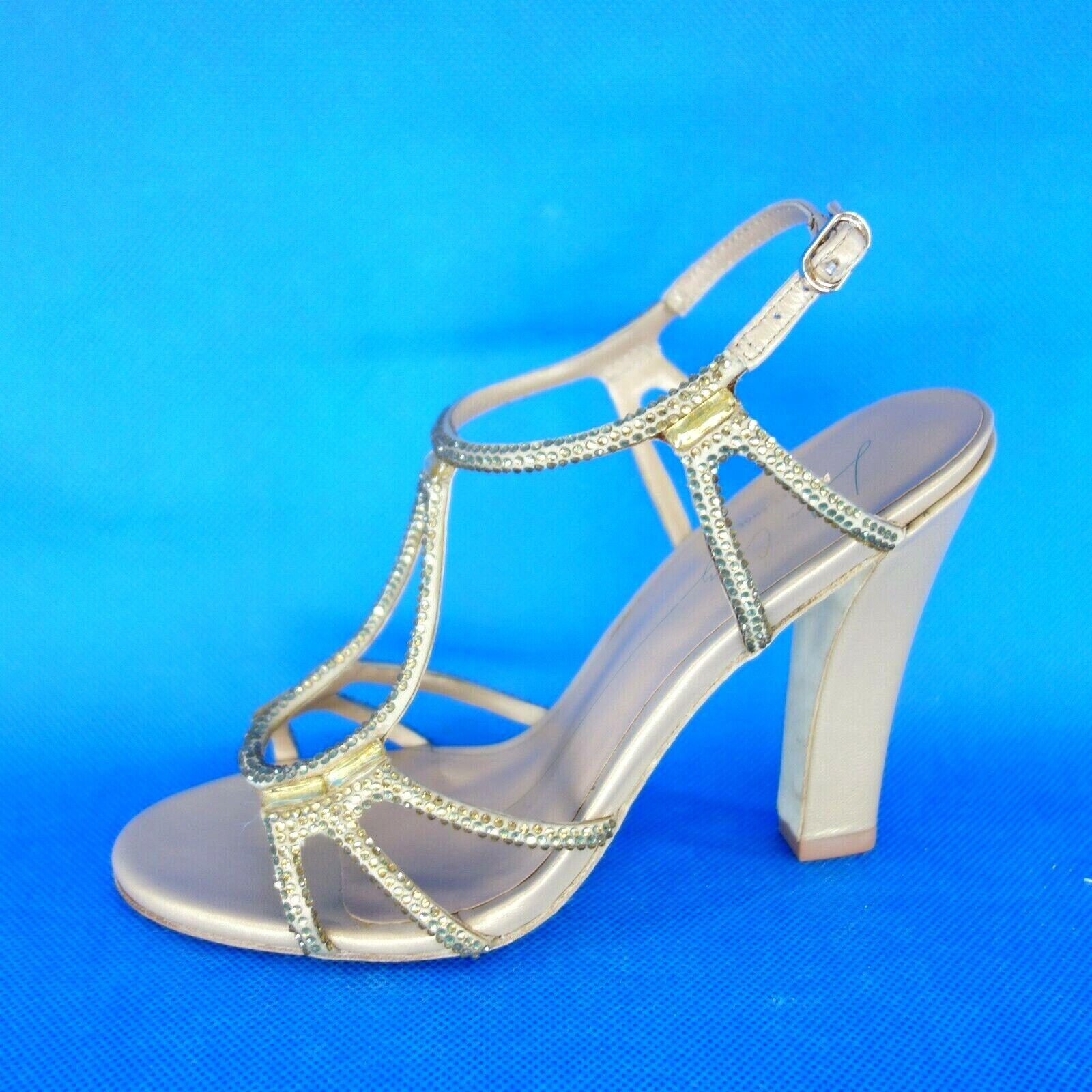 LOLA CRUZ Damen Pumps Sandaletten Gr 37 38 Leder Straßsteine Schuhe NP 195 NEU
