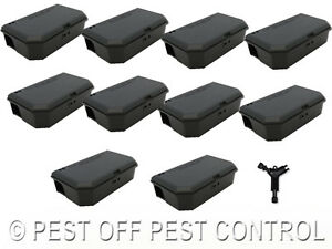 10 x Mouse Mice Bait Box Station to hold poison for Rodent Pest Control