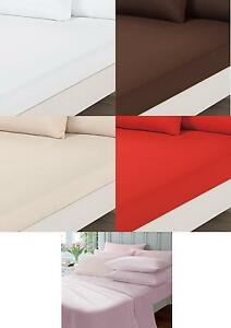 Percale-Fitted-Flat-Sheet-Bed-Single-Double-King-Size-with-Free-Pillow-Cases