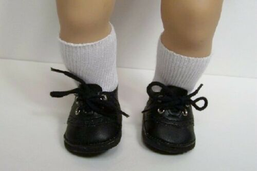 Solid BLACK Saddle Oxford Doll Shoes For 15 Bitty Baby (Debs)