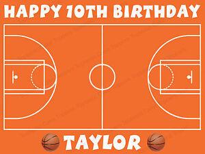 Pleasing Personalised Basketball Court Edible Icing Cake Topper Ebay Funny Birthday Cards Online Kookostrdamsfinfo