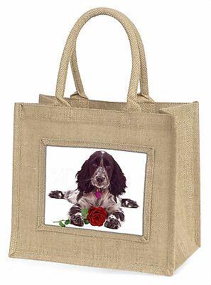 Blue Roan Cocker Spaniel mit Rosé Große Natürliche Jute-einkaufstasche,