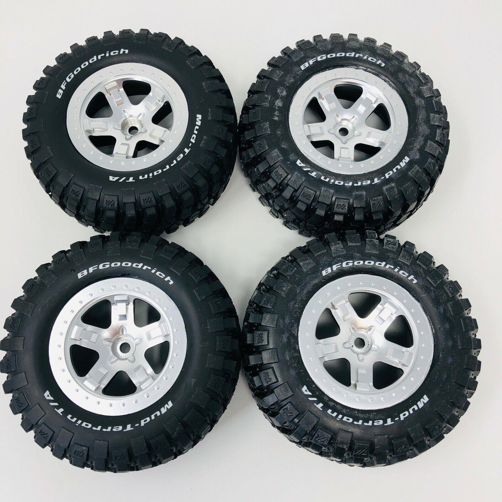 Traxxas Front & Rear Satin Chrome Wheels - SCT Split Spoke (x4) Bf Goodrich New