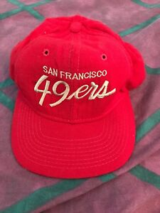 SF 49ers Vintage Sports Specialties Script Red Gold Wool Snapback ... e33dbdbf94c9