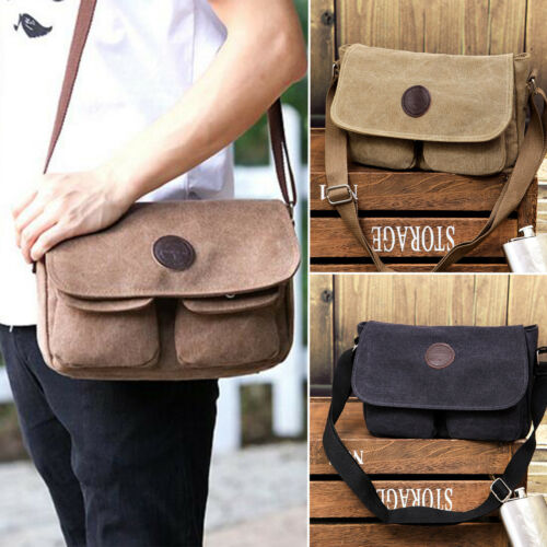 Mens Boys Vintage Canvas Satchel School Military Shoulder Bags Messenger Bag New