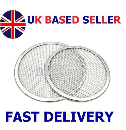 "2 x 13/"" inch Aluminium Mash Pizza Baking Tray Flat Screen Wire Thin Crust Pizza"