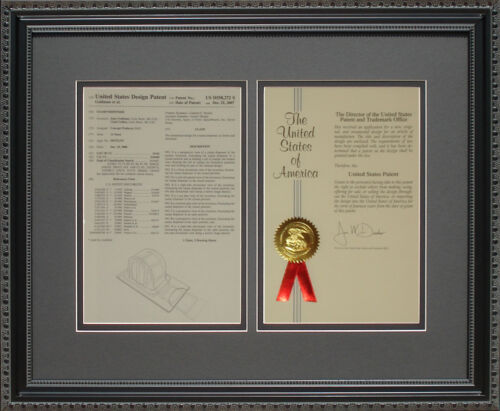 Custom Frame and Mats for USPTO Patent Documents Picture Art Wall Utility Design