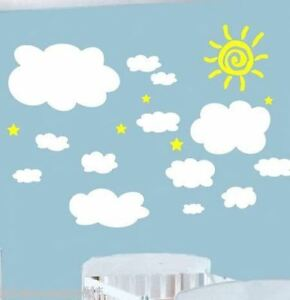 Image Is Loading 13 Cloud Wall Stickers Nursery Baby Room REMOVABLE