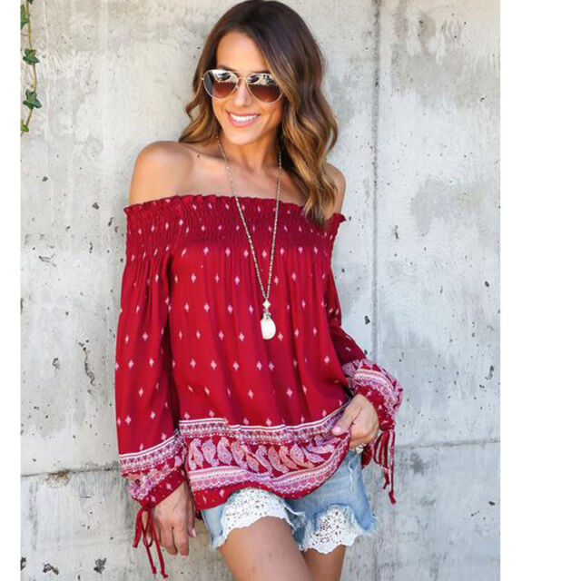 Boho Womens Gypsy Summer Tee Shirt Floral Off Shoulder Blouse Loose Casual Tops