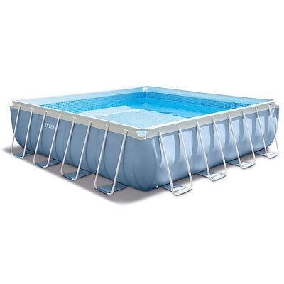 Intex Piscine tubulaire carrée 427x427x107cm metal car filtration tapis 28764